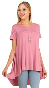 Umgee Hi Lo Tunic Tunic Short Sleeve Shirt Top pink