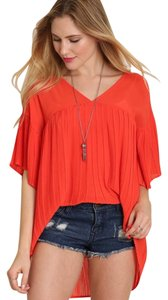 Umgee Pleated Short Sleeve Boho Tunic Women's Top coral