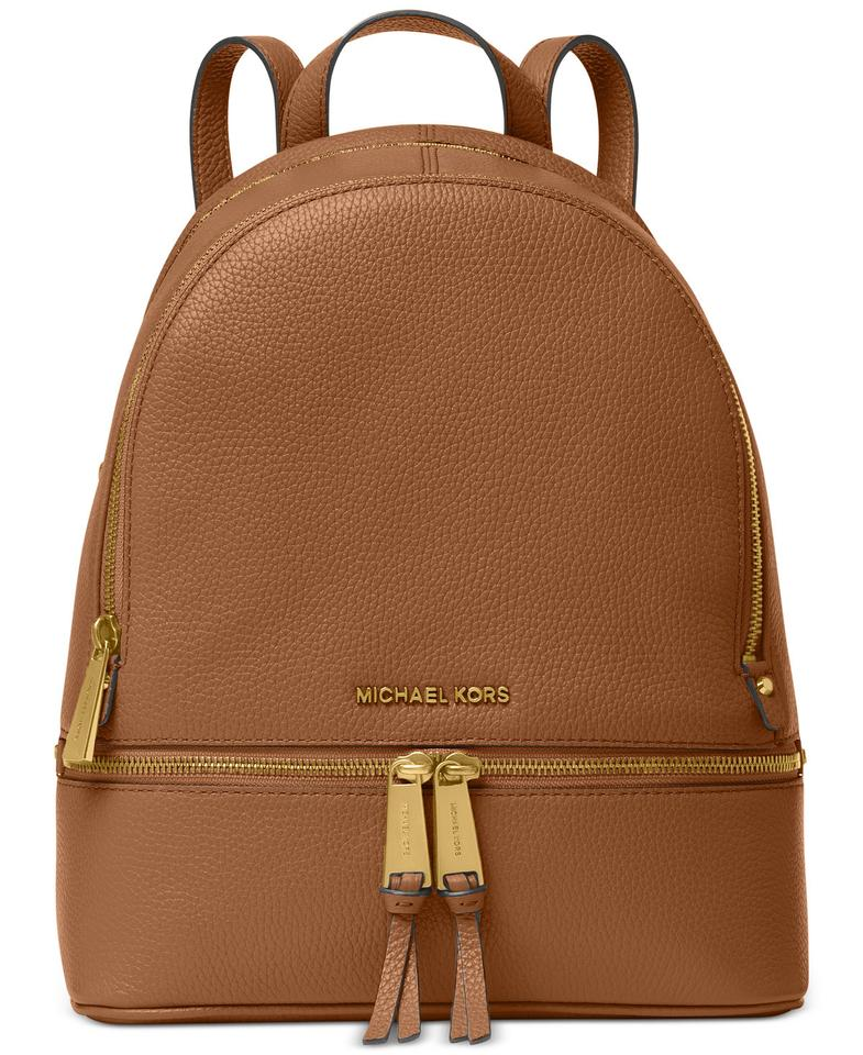 83fabb15414e Michael Kors Rhea Zip Medium Travel School Brown Leather Backpack ...