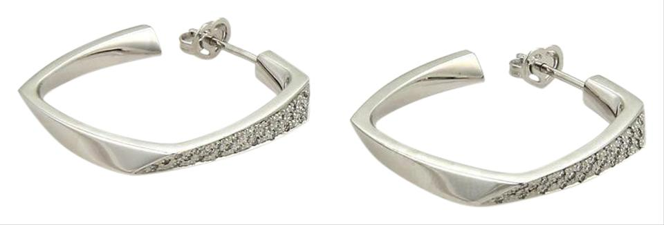 Gehry Diamond Torque 18k White Gold Square Hoop Earrings