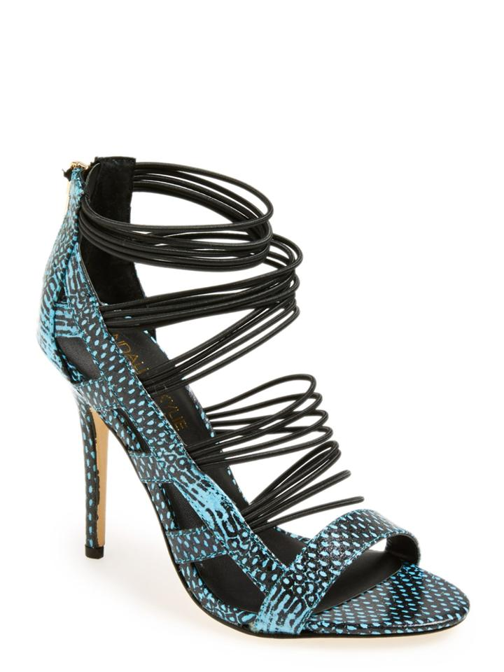 ad2e31f38fb Kendall + Kylie Black and Teal Danila Sandals Size US 6.5 Regular (M ...