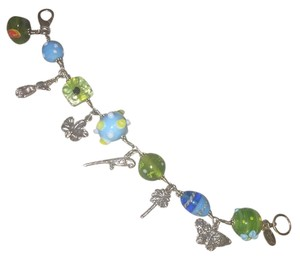 Lilly Pulitzer RARE! Sterling Silver Tropical Paradise Charm Bracelet