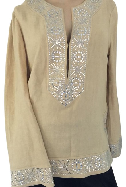 Item - Wheat/Pale Gold with Silver Embellishments Tunic Size 6 (S)