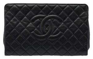 Chanel Caviar Quilted Leather Black Clutch