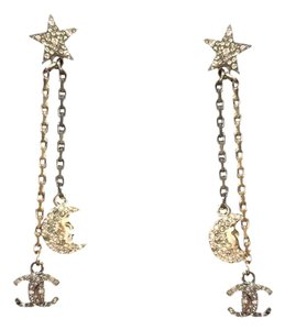 Chanel 2017 Cc Star Moon Dangling Earrings Silver