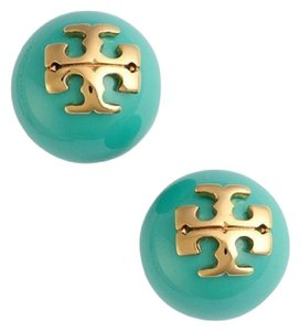 Tory Burch NEW!!! TAGS TURQUOISE 16K GOLD PEARL STUD ROUND LOGO EARRINGS