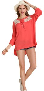 Umgee Lace Up Hi Lo Boho Tunic Long Sleeve Lace Tunic Top coral