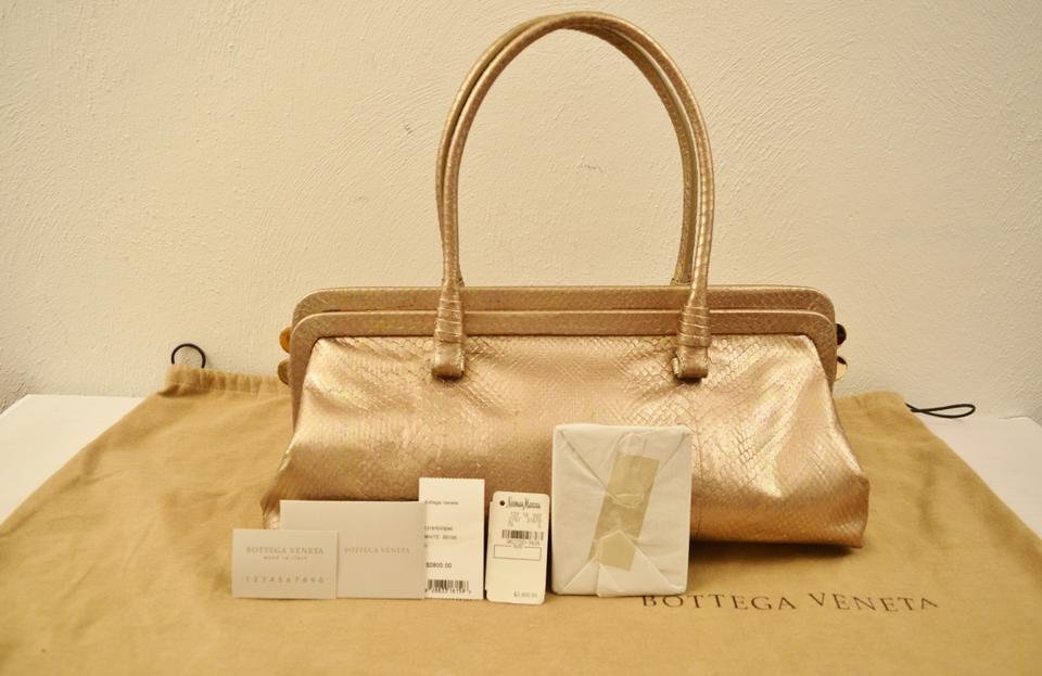 b580caadf41b Bottega Veneta Clutch Shoulder Gold Snakeskin Shoulder Bag - Tradesy