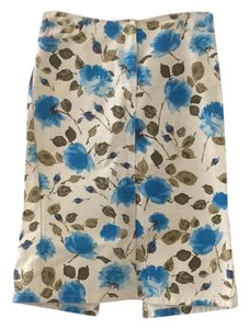 Paul Smith Skirt white denim with green and blue floral print