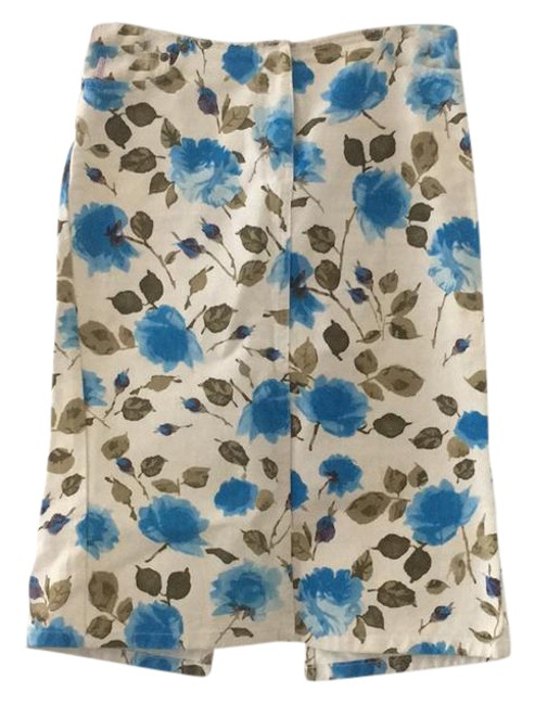 Item - White Denim with Green and Blue Floral Print Jean Skirt Size 6 (S, 28)