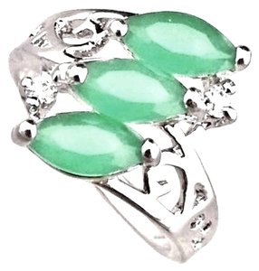 Natural Green EMERALD GEMSTONE 925 STERLING SILVER RING JEWELRY size 6.5