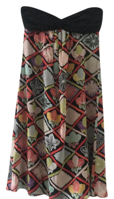 Item - Black and Multi-colored Floral Print Strapless Mid-length Cocktail Dress Size 6 (S)