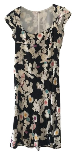 Item - Black with White Multi-colored Pattern And Mid-length Work/Office Dress Size 6 (S)