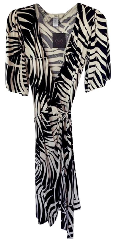 c37b670fdfea FLORA KUNG Black Ivory Palm Print Jersey Silk Knit Wrap Work/Office Dress