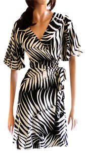 FLORA KUNG Monochrome Silk Jersey Boho Animal Dress