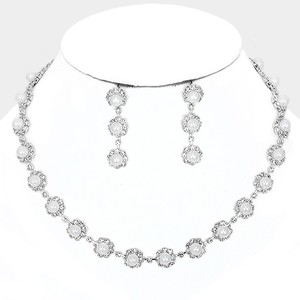 White Clear Crystal and Silver/Rhodium Elegant Rhinestone Pearl Evening Necklace Jewelry Set