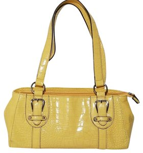 Croft & Barrow Faux Leather Crocodile Satchel in Yellow