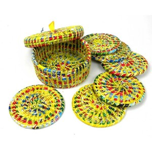 Wrapper Coasters Box Set Of 6 -multi-color Yellow