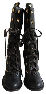 Dolce&Gabbana Combat Lace Up Lace Up Lace Up black with gold Boots