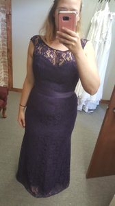 Alfred Angelo Eggplant Purple Lace 7410 Modest Bridesmaid/Mob Dress Size 14 (L)