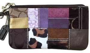 Coach Patchwork Leather Wristlet in Brown, Purple, Gold