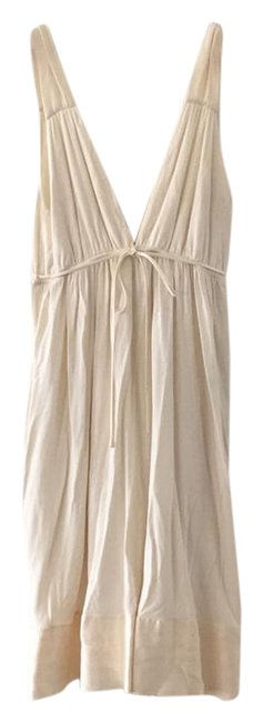 Item - Cotton Cream with Satin Trim Detail Mid-length Short Casual Dress Size 6 (S)