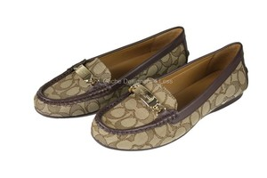Coach Jacquard w/Brown Leather Trim Flats