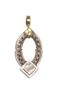 Michael Dawkins Silver & Gold Pendant With Pearl Detail