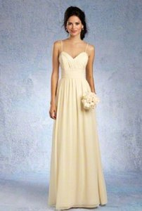 Alfred Angelo Buttercream Chiffon 7323l Formal Bridesmaid/Mob Dress Size 14 (L)