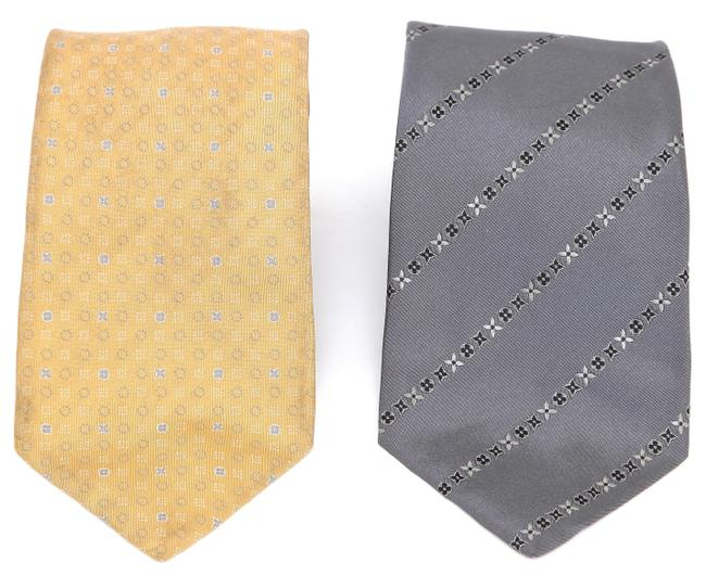 Item - Grey Silver Gold Necktie Men's Silk (2) Logo Monogram Tie/Bowtie