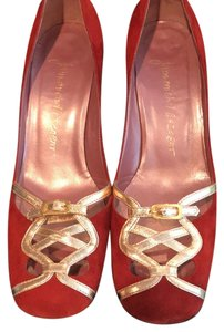 Jean-Michel Cazabat burgundy and gold Pumps
