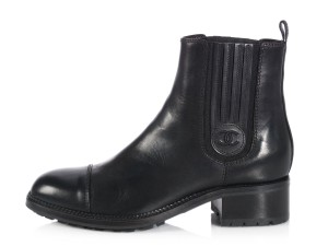 Chanel Ch.l0615.02 Leather Cap Toe Black Boots