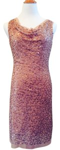 Max Studio Sequin Gold Nude Above Knee Cocktail Date Party Cowl Neck Dress