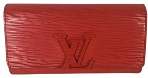 Louis Vuitton Aut Louis Vuitton Louise Coquelicot Red Epi Leather Clutch Wallet