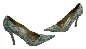 Marciano Pointed Toe Stiletto Blue and tan fabric inc heels lining, insoles, soles all leather Pumps