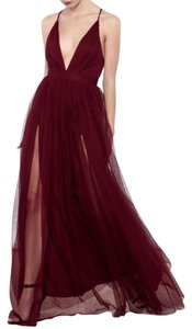 Luxxel V-neck Tulle Slit Dress