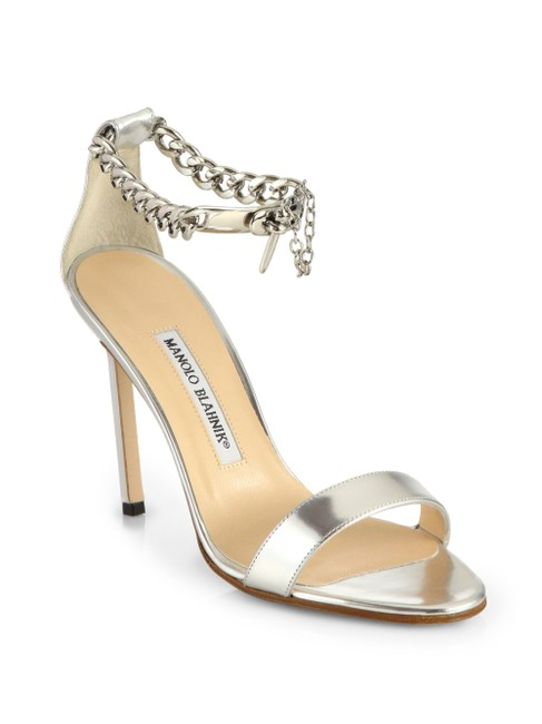 Item - Silver Chaos Metallic Leather Ankle-chain Formal Shoes Size EU 37 (Approx. US 7) Regular (M, B)