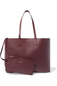 Saint Laurent Leather Shopper Red Tote in burgundy