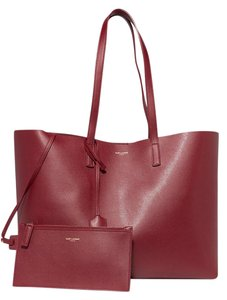Saint Laurent Leather Shopper Red Tote in merlot