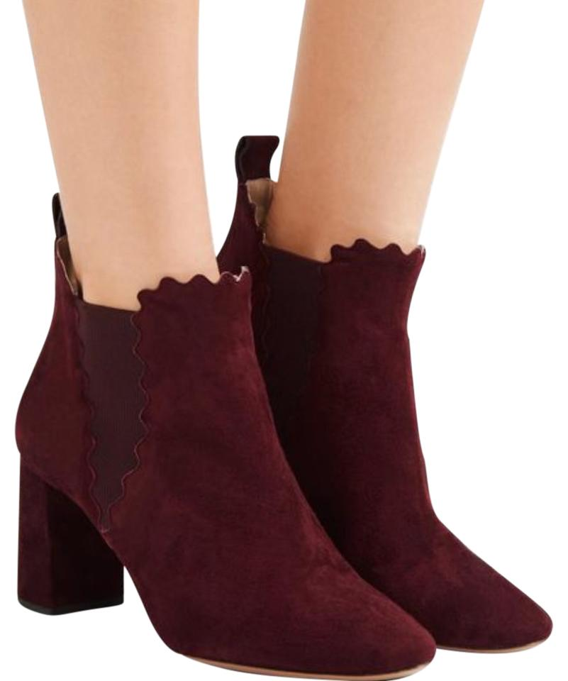 95a0767898fbb Chloé Scallop Suede Burgundy Ankle Boots Booties Size US 5.5 Regular ...