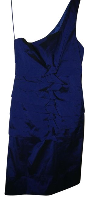 Item - Cobalt Blue Ruched Bodycon One-shoulder Cocktail Mid-length Night Out Dress Size 8 (M)