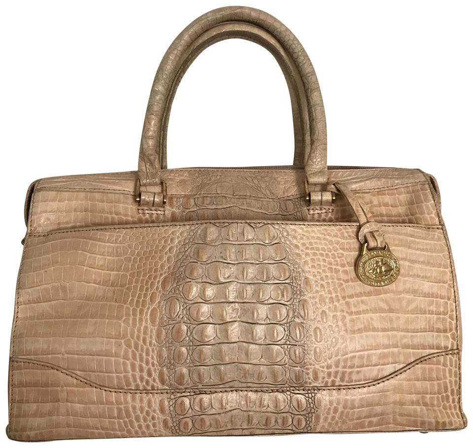 80f8a8d41737 Brahmin Melbourne Embossed Gator Croc. White Beige Gray Leather Satchel