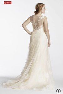 Melissa Sweet Ivory Lace Open Back Illusion Tank Feminine Wedding Dress Size 22 (Plus 2x)