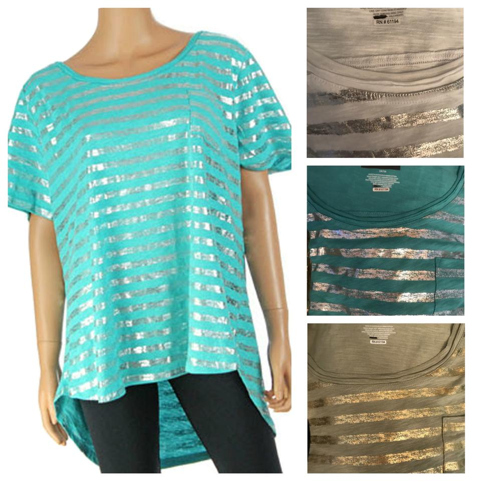 4e229d5683e Lane Bryant Multicolor Women s Scoop Neck Foiled Stripe Shirt Blouse ...