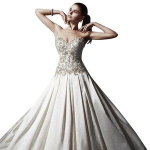 Maggie Sottero Alabaster/Pewter Satin Danica Marie Traditional Wedding Dress Size 16 (XL, Plus 0x)