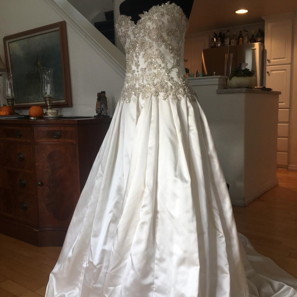 Used Plus Size Ball Gowns: Maggie Sottero Alabaster/Pewter Satin Danica Marie