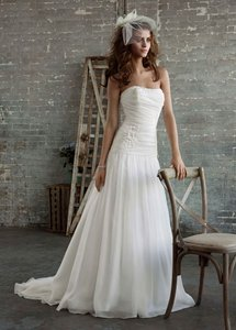 Galina White Chiffon Pk3285 Wedding Dress Size 0 (XS)