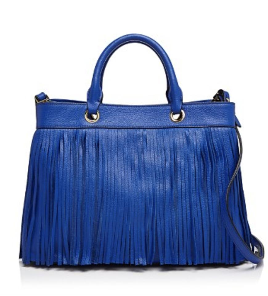 MILLY Essex Fringe Crossbody Top Handle Handbag Bright Blue Tote ...