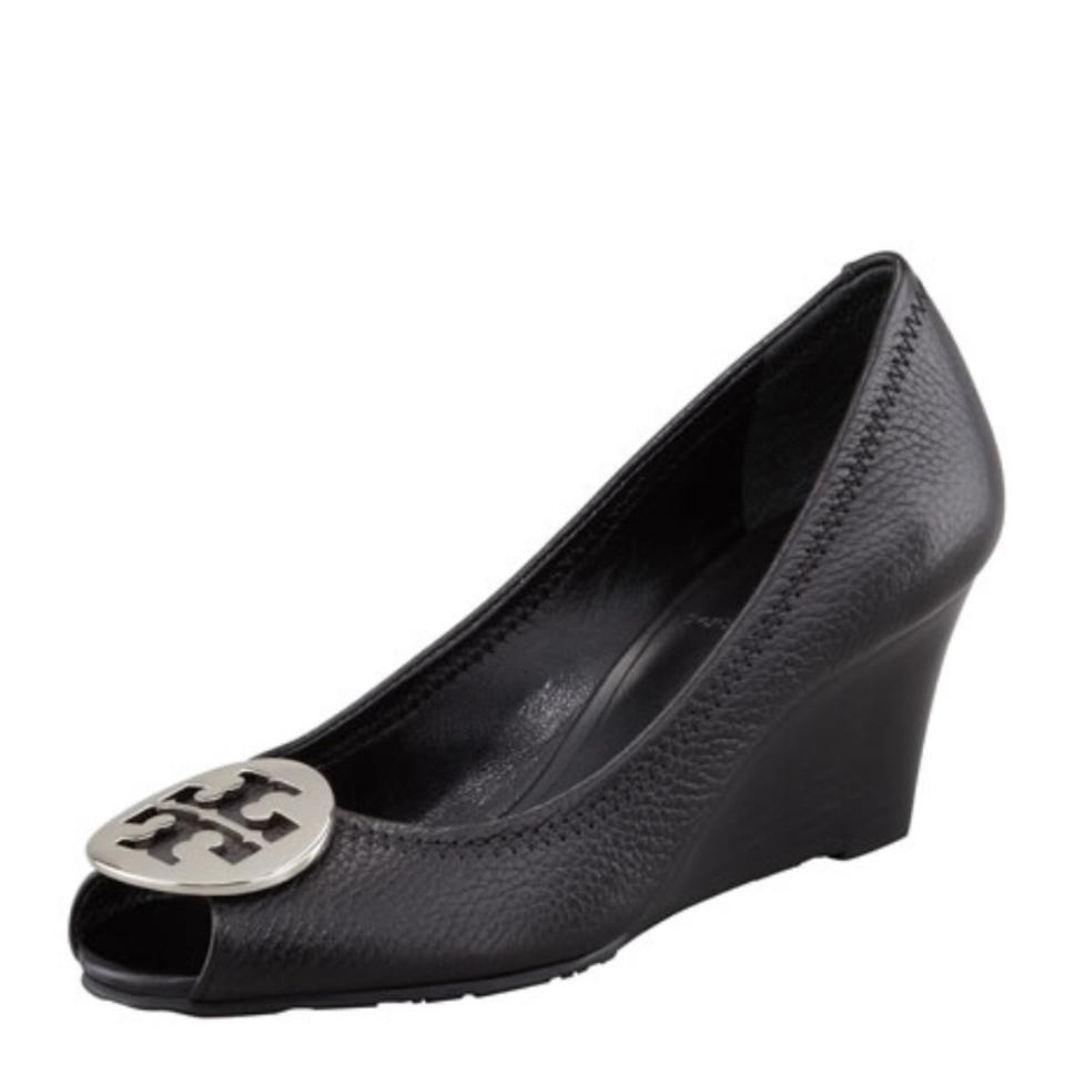 Tory Burch Black Silver Sally 2 Peep Toe Pump Heel Reva Wedges Size ... 93247bb08233