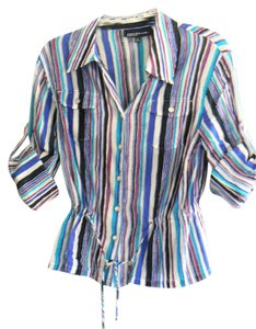 Jones New York 100% Cotton Machine Wash Ties At Waist Chest Pockets Button Down Shirt Purple, Aqua Black Striped